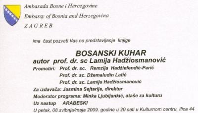 "Poziv na predstavljanje knjige ""Bosanski kuhar"""