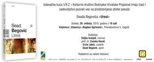 """Poziv na predstavljanje zbirke poezije Seada Begovića """"Uresi"""""""