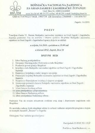 POZIV na Svečanu izbornu sjednicu Skupštine BNZH