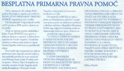 """Izvješće o prvih 6 mjeseci rada projekta """"BESPLATNA PRIMARNA PRAVNA POMOĆ"""""""